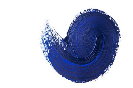dark blue stroke of the paint brush on white paper 免版税图像