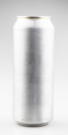 Empty aluminium can with beverage on white background.