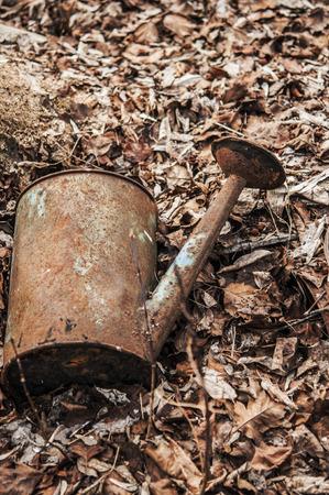 vintage metallic watering can over a grunge background Standard-Bild - 122828725