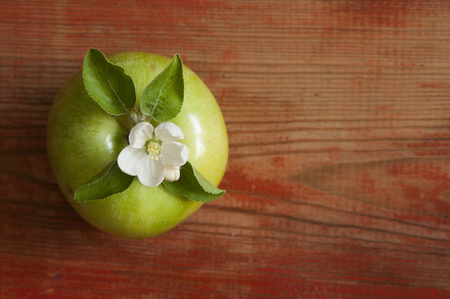 image of spring white apple blossoms tree and green apple fruit on wooden table. The view from the top.