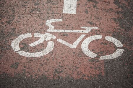 street, symbol, path, road, bike, asphalt, bicycle, sign, ride, lane, way, paint, traffic, outdoor, transport, urban, city, route, cycle, biking, track, travel, transportation, safety, white, cyclist, 스톡 콘텐츠