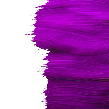 Beautiful textured purple stroke isolated on white background.