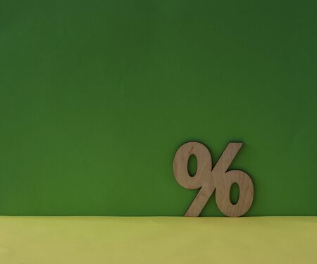 Percentage sign symbol icon on green background, copy space Stock fotó