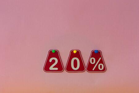sale 20 percent. Big sales 20%, twenty percents on pink  background for flyer, poster, shopping, sign, discount, marketing, selling, banner, web, header Stock fotó