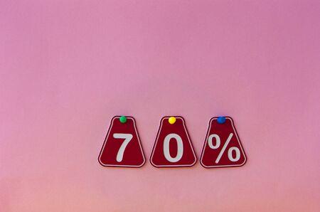 selling 70 percent. Big sale 70%, seventy percent on pink background for flyer, poster, shopping, sign, discount, marketing, sale, banner, website, headline Stock fotó