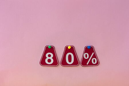 selling 80 percent. Big sale 80%, eighty percent on pink background for flyer, poster, shopping, sign, discount, marketing, sale, banner, website, headline