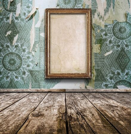 old wooden room with wallpaper and vintage frame. Rustic interior design.