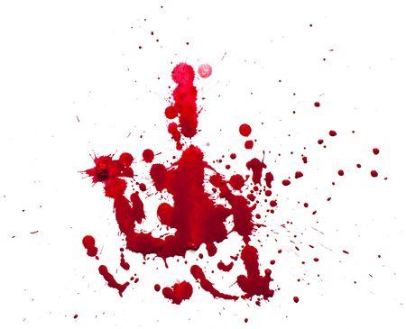 Blutstropfen, isoliert auf weißem Hintergrund