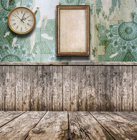 vintage interior with wall clock and photo frames Rustic interior design.