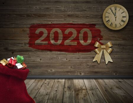 A red small bag with Christmas gift boxes in wooden room, vintage background