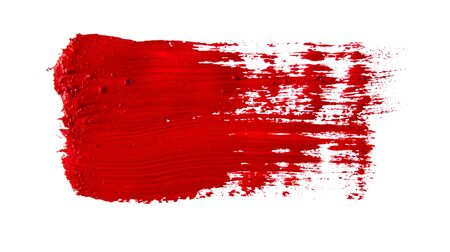 Red paint artistic dry brush stroke. Watercolor acrylic hand painted backdrop for print, web design and banners.