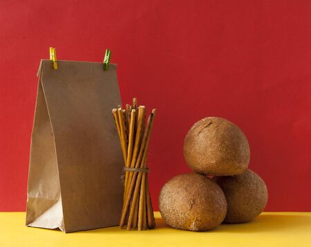 Round buns and paper eco bag