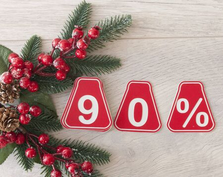 selling 90 percent. Big sale 90%, ninety percent on wood background for flyer, poster, shopping, sign, discount, marketing, sale, banner