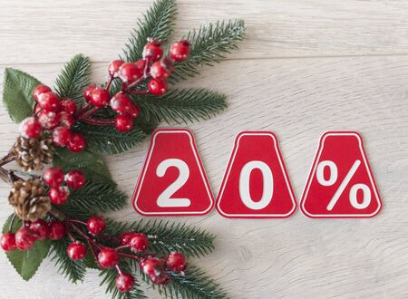 sale 20 percent. Big sales 20%, twenty percents on wooden background for flyer, poster, shopping, sign, discount, marketing, selling, banner, web,