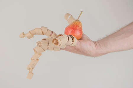 wood shavings hanging from the fingers with pear over white background Archivio Fotografico