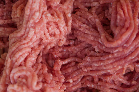 fresh raw minced beef, pork with copy space. Top view