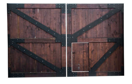 Old wooden door from a barn isolated on white background Archivio Fotografico