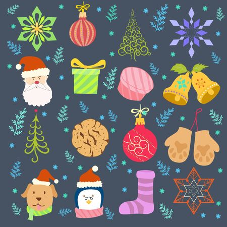 christmas time with cartoon style design vector Иллюстрация