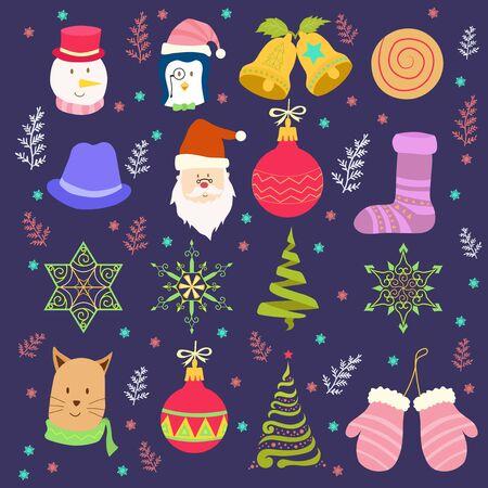christmas theme in cartoon style