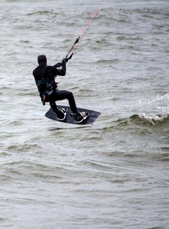 fun day: fun day for die hard kiteboarders on lake michigan Editorial