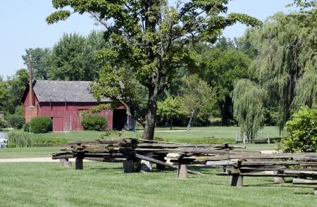 split rail: rural farm with split rail fence