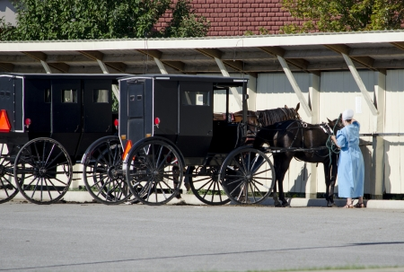 Amish woman parking her horse and buggy in a modern town