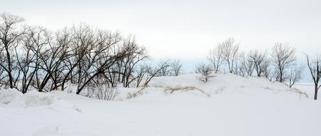 cold winter landscape on lake michigan Stock Photo