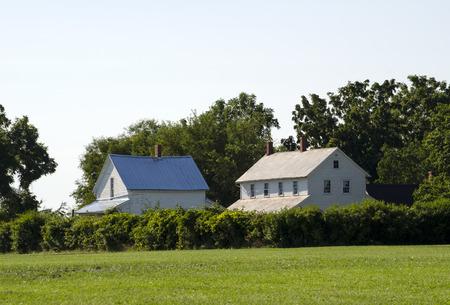 farm house: old farm house and barn in indiana Stock Photo