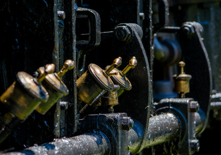 pistons: pistons on an engine in an old steam train  Stock Photo