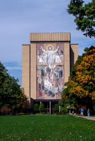 touch down: The Hesburg library on the campus of Notre Dame in Indiana, has a famous mural officially called the world of life mural, but better know as touch down Jesus