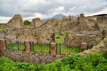 Ruins of ancient city of Pompeii, destroyed by volcano Mount Vesuvius, two millenniums ago, 79 AD. open for visitors, a popular destination for tourists in Italy