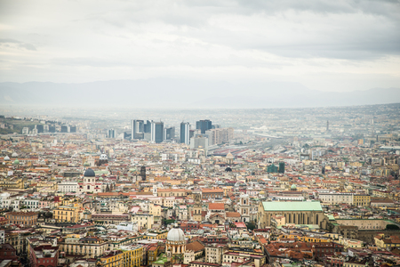 Naples, Italy - November 30 2017: Beautiful view of Naples on a cloudy day