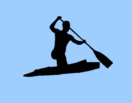 silhouette canoeing photo