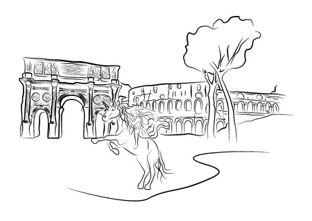 Black and white vector illustration can be used as rasskraska. Vector sketch. Constantine's arch and The Colosseum in Rome.
