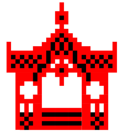 Vector Image Sumy gazebo can be used to cross-stitch red and black. The image is made up of squares