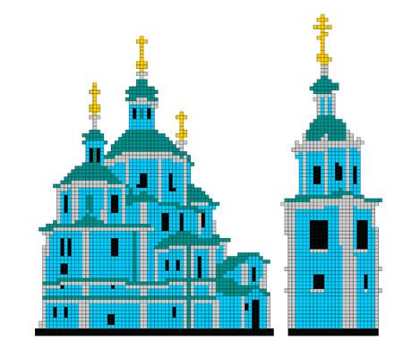 punto de cruz: Imagen catedral de la resurrección consiste en cuadrados de diferentes colores Vectores