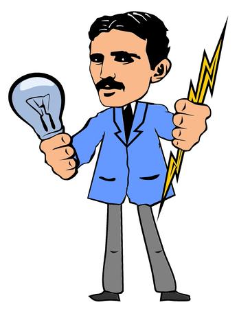 Nikola Tesla hält eine Glühbirne und Blitz in den Händen