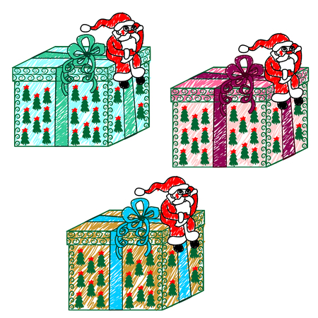 child's drawing: Childs drawing of Santa Claus with a gift. Vector illustration. Santa Claus sits on top of the big box and thinks how to Deliver it to the children Illustration