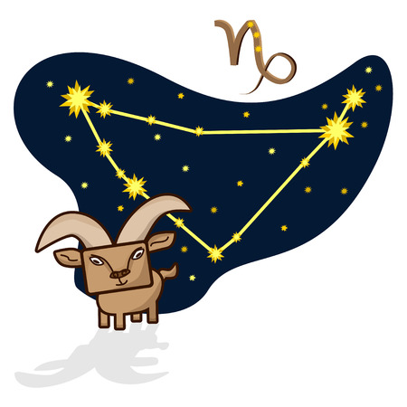 capricornus: Cartoon Zodiac signs. Vector illustration of the Capricorn with a rectangular face. A schematic arrangement of stars in the constellation Capricornus