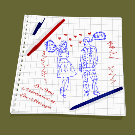 sudden: Love Story - A sudden meeting. Vector illustration of a love at first sight. The drawing a red and blue ballpoint pen on squared paper - Man and woman flirting