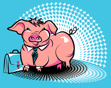 Business smug piggy. Vector illustration of a fat pink pig in a tie with an office briefcase on Ben-Day dots background