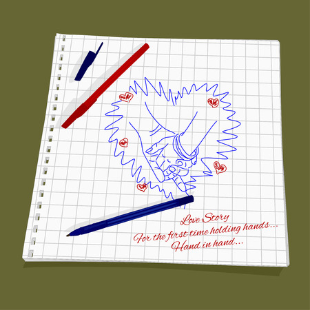 perforation: Love Story - holding hands. Vector illustration of a loving couple holding hands. Cute Romantic simple drawing a red and blue ballpoint pen on squared paper - mans hand taking womans hand