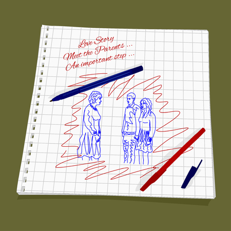 Love Story - Meet the Parents. Vector illustration man introduces his girlfriend to his mother. Cute Romantic simple drawing a red and blue ballpoint pen on squared paper - loving couple stand in front of an adult woman