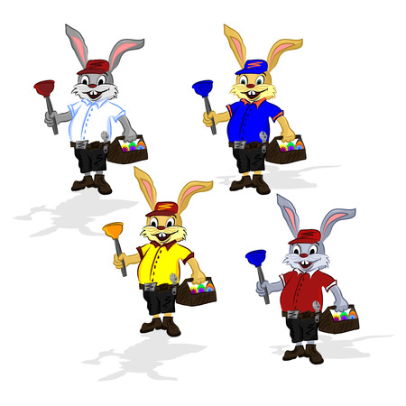 Easter cheerful rabbit plumber. Vector illustration of a rabbit in a shirt and shorts that in one hand holds a plunger and in the second hand he holds a suitcase for tool with Easter eggs