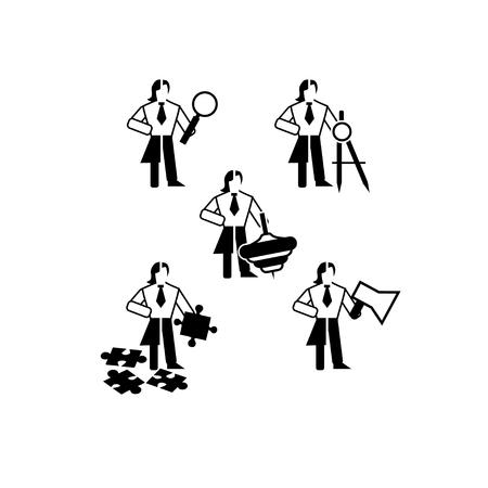 Un conjunto de iconos negro y negro de género sobre el tema de los rasgos de carácter del líder. Los cinco roles que debe desempeñar el líder son el buscador de oportunidades, el arquitecto de experiencia, el rompe-reglas, el productor y el cuentacuentos
