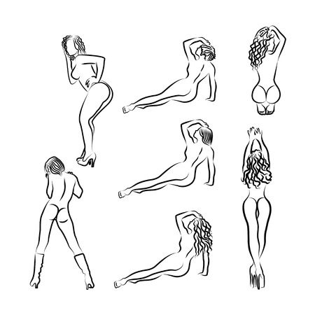 Set of black and white outline silhouettes of sexy girls. Seven women in different poses - view from the back - for engraving, plotter cutting, stamping, etc.