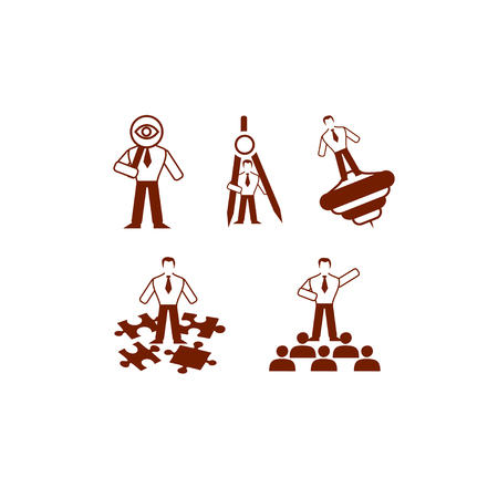 A collection of five monotonous vector business icons of a human silhouette that possesses leadership characteristics. The brown silhouette of a man holds different objects, which are symbols of resourcefulness, of the ability to plan and prioritize effec