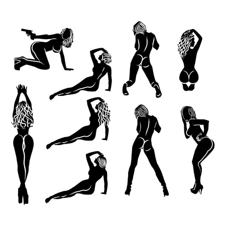 A large set of nine simple black and white silhouettes of girls in different poses. Women sexually are sitting, lying, standing, kneeling - view from the back