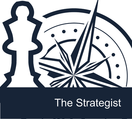 The Strategist on white background - vector simple flat template for web or presentation. Conceptual illustration - the chess queen symbolizes the strategists marketing plans, and the compass indicates the route.