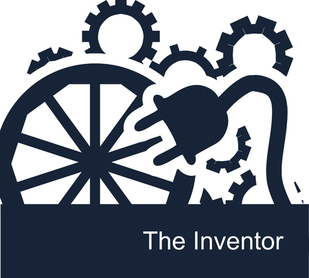 Abstract vector symbolic illustration on a white background for a backdrop or web icons for an inventor. Gears spin, the wheel turns, and talented people